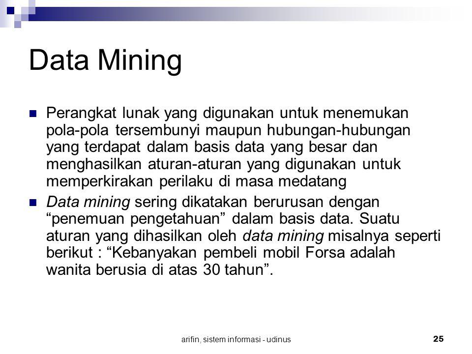 arifin, sistem informasi - udinus 25 Data Mining Perangkat lunak yang digunakan untuk menemukan pola-pola tersembunyi maupun hubungan-hubungan yang te