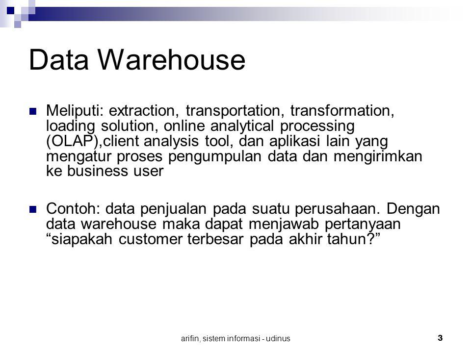 arifin, sistem informasi - udinus 3 Data Warehouse Meliputi: extraction, transportation, transformation, loading solution, online analytical processin