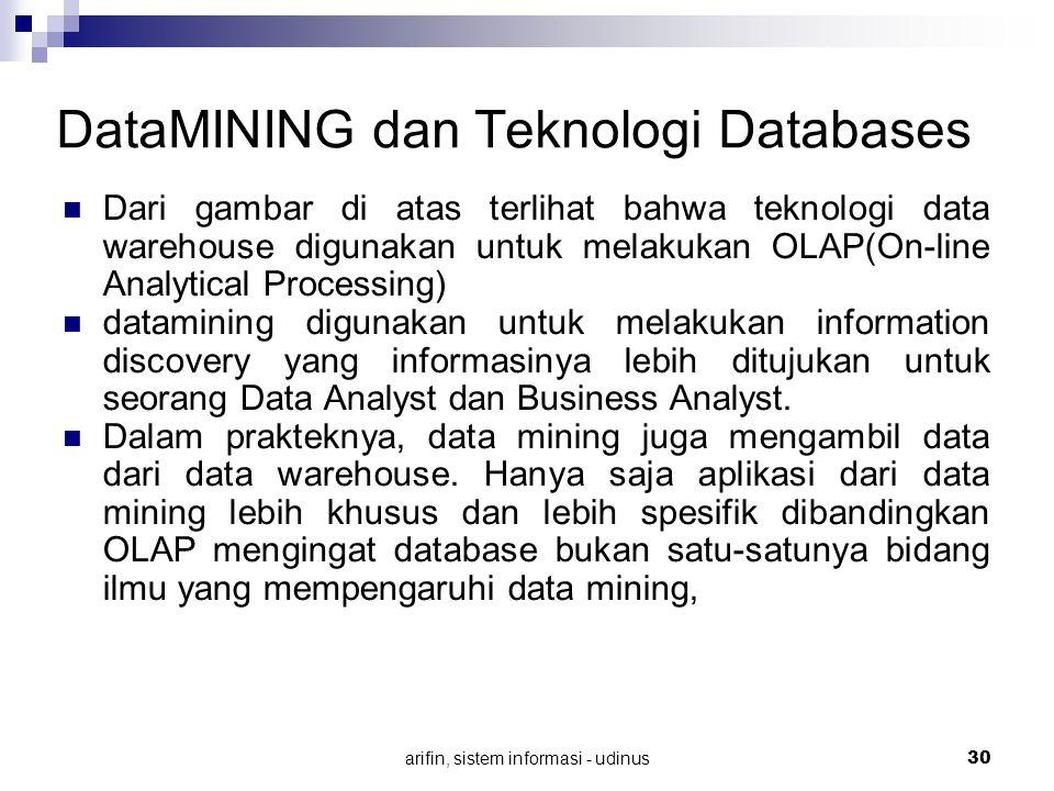 arifin, sistem informasi - udinus 30 DataMINING dan Teknologi Databases Dari gambar di atas terlihat bahwa teknologi data warehouse digunakan untuk me