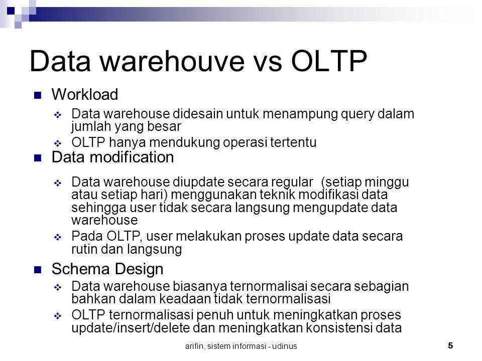 arifin, sistem informasi - udinus 5 Data warehouve vs OLTP Data modification  Data warehouse biasanya ternormalisai secara sebagian bahkan dalam kead