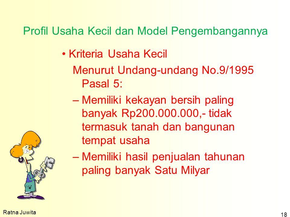 Profil Usaha Kecil dan Model Pengembangannya Kriteria Usaha Kecil Menurut Undang-undang No.9/1995 Pasal 5: –Memiliki kekayan bersih paling banyak Rp20