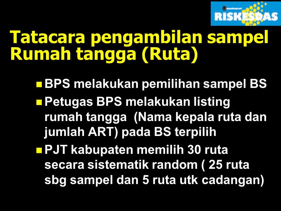 RANCANGAN SAMPEL WILAYAH (INDONESIA, 33 PROVINSI) STRATIFIKASI KOTA/DESA PPS SAMPLING  2800 BS (Primary Sampling Unit/PSU) SYSTEMATIC SAMPLING  25 Ruta/BS  (Secondary Sampling Unit/SSU) RESPONDEN (SAMPEL KESMAS)  2800BS (70.000 Ruta, 315.000 individu) SUB-SAMPLE (MALARIA+TB)  823 BS 20.575 Ruta; 61.725 individu  TB, 93.000 individu  MALARIA (Representasi propinsi) (representasi nasional)