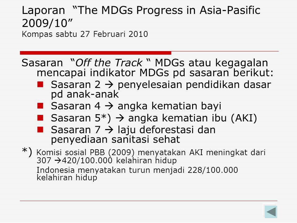 Laporan The MDGs Progress in Asia-Pasific 2006 Pencapaian indikator yg memburuk di Indonesia Kurang gizi Pendidikan Gender Hutan Emisi Co2, Air (urban),