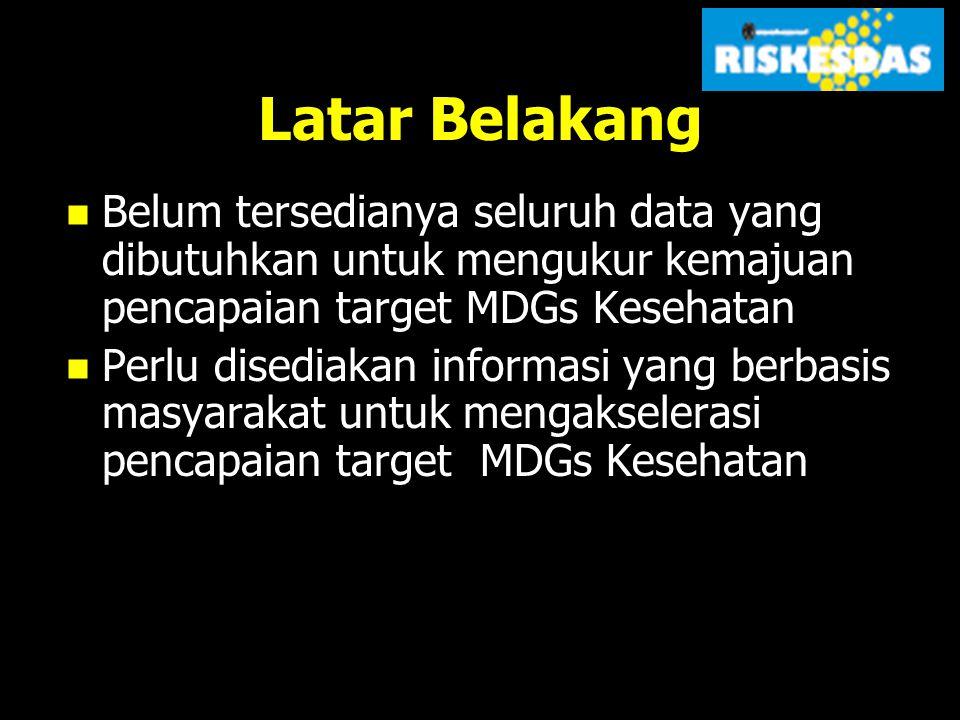 Latar Belakang Hasil Riskesdas 2007 telah dimanfaatkan dengan baik untuk perumusan kebijakan kesehatan baik di tingkat Pusat, Provinsi dan Kabupaten/Kota (contoh hasil riskesdas 2007)(contoh hasil riskesdas 2007) Presiden RI akan menyajikan hasil pencapaian target MDGs pada KTT MDGs di New York bulan September 2010 (contoh status indikator MDGs Indonesia 2006 dan 2009/10)(contoh status indikator MDGs Indonesia 2006 dan 2009/10)