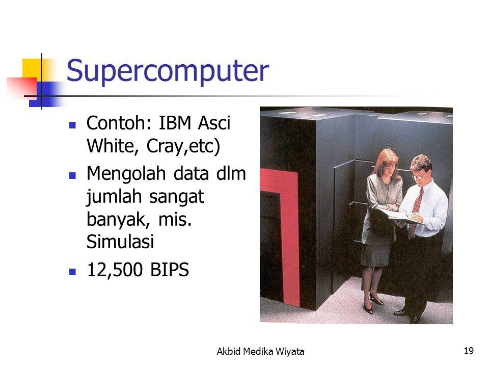 19 Supercomputer Contoh: IBM Asci White, Cray,etc) Mengolah data dlm jumlah sangat banyak, mis.