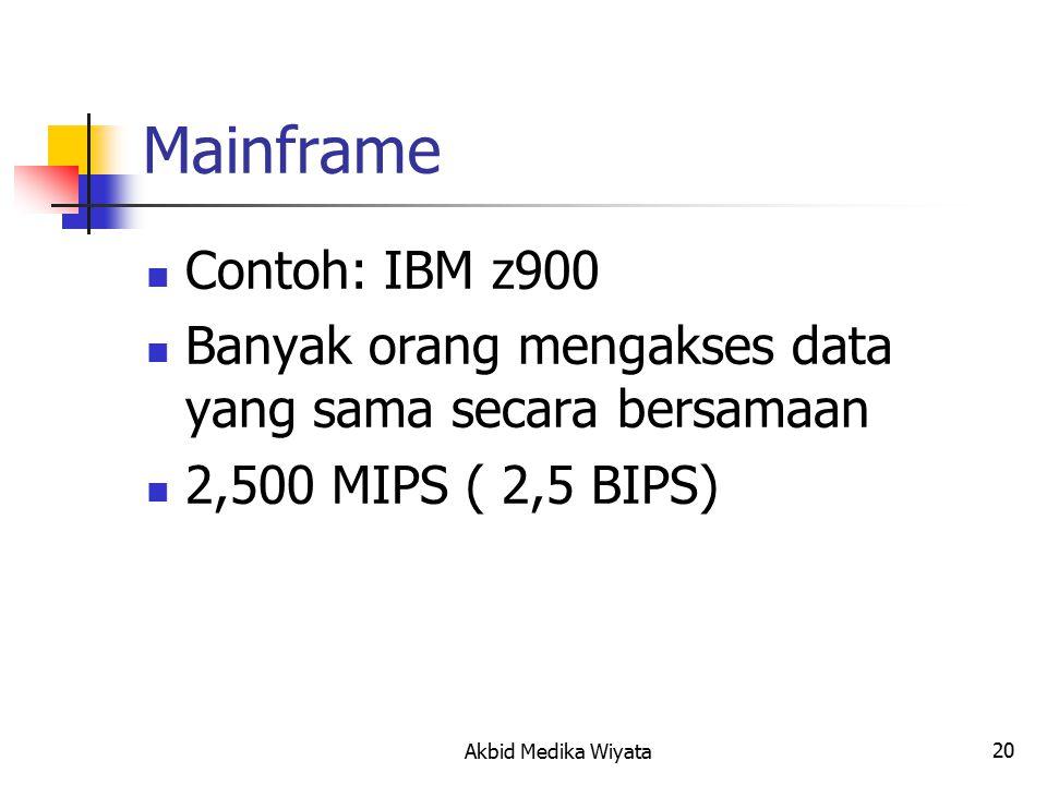 20 Mainframe Contoh: IBM z900 Banyak orang mengakses data yang sama secara bersamaan 2,500 MIPS ( 2,5 BIPS) Akbid Medika Wiyata