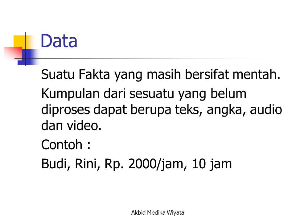 Data Suatu Fakta yang masih bersifat mentah.