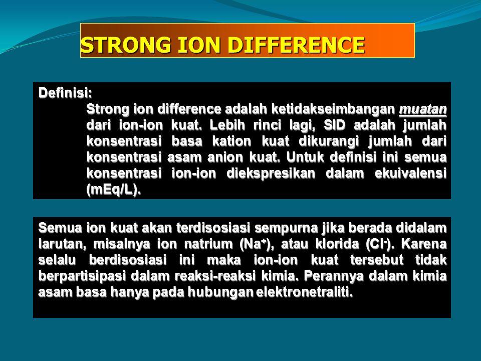 STRONG ION DIFFERENCE Definisi: Strong ion difference adalah ketidakseimbangan muatan dari ion-ion kuat. Lebih rinci lagi, SID adalah jumlah konsentra
