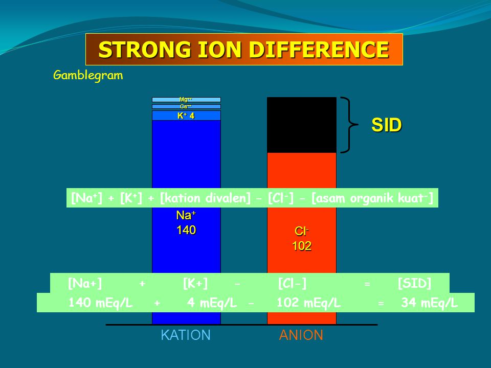 Gamblegram Na + 140 K + 4 Ca ++ Mg ++ Cl - 102 KATIONANION SID STRONG ION DIFFERENCE [Na + ] + [K + ] + [kation divalen] - [Cl - ] - [asam organik kua
