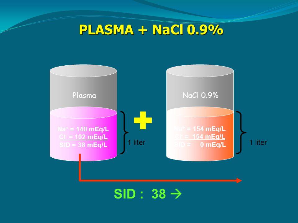Na + = 140 mEq/L Cl - = 102 mEq/L SID = 38 mEq/L Na + = 154 mEq/L Cl - = 154 mEq/L SID = 0 mEq/L 1 liter PLASMA + NaCl 0.9% SID : 38  PlasmaNaCl 0.9%