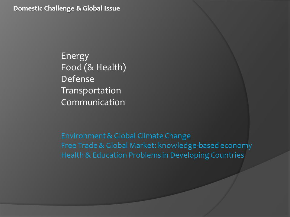 Domestic Challenge & Global Issue Domestic Challenge & Global Issue Energy Food (& Health) Defense Transportation Communication Environment & Global Climate Change Free Trade & Global Market: knowledge-based economy Health & Education Problems in Developing Countries