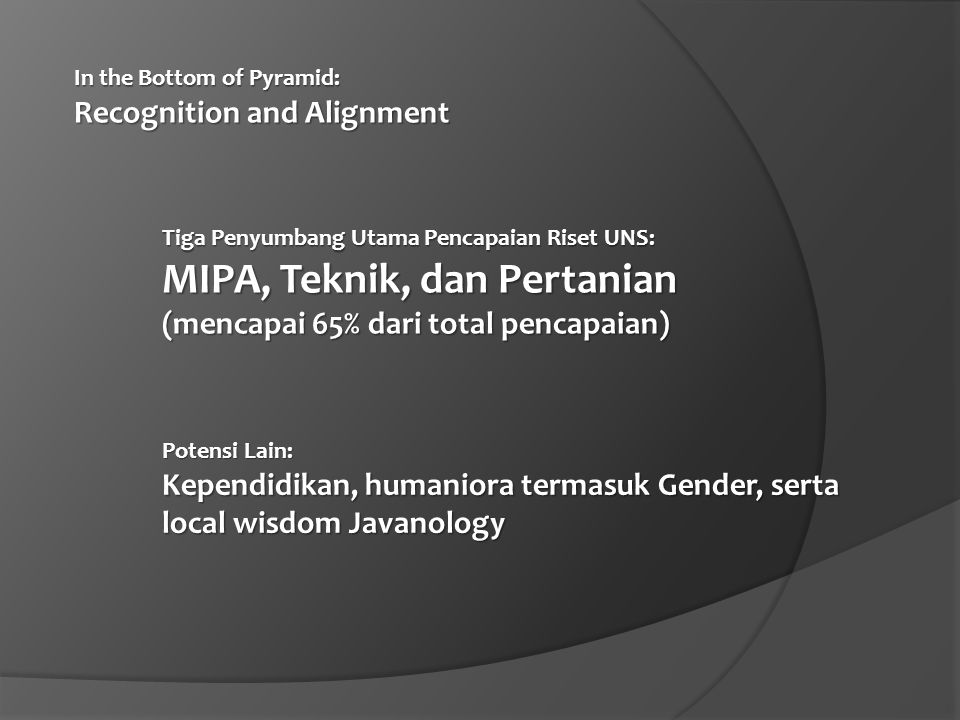 In the Bottom of Pyramid: Recognition and Alignment (2) Potensi Riset Terfokus  Rekayasa Bahan Maju & Teknologi Modular Renewable Energy (disupport oleh lebih dari 30 Dr di FMIPA, Teknik, dan FKIP)  Integrated Life and Environmental Sciences for Sustainable Development (disupport oleh lebih 40 Dr di FMIPA, Pertanian, Teknik, FKIP, dan FK)  Humaniora dan Javanology (lots of Prof.