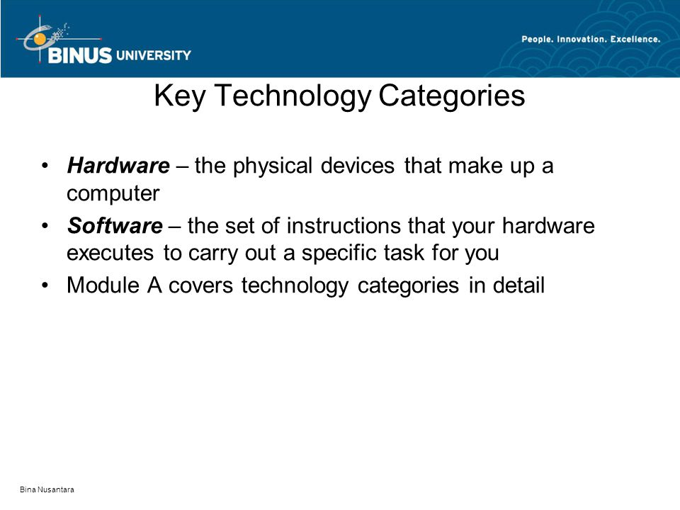 Bina Nusantara Key Technology Categories