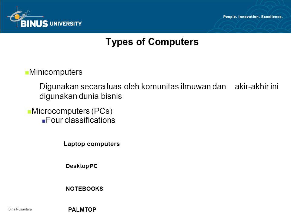 Bina Nusantara Types of Computers Mainframes –Pada perusahaan besar, dimana data diproses terpusat dan pengelolaan data base besar IBM MAINFRAME ATL MAINFRAME