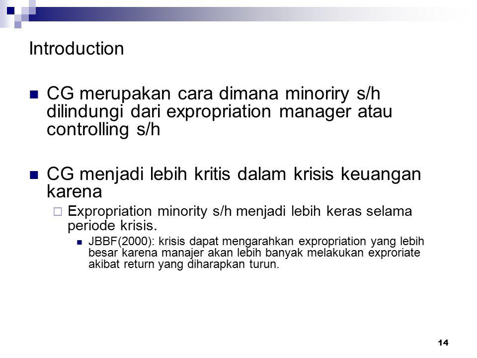 14 Introduction CG merupakan cara dimana minoriry s/h dilindungi dari expropriation manager atau controlling s/h CG menjadi lebih kritis dalam krisis