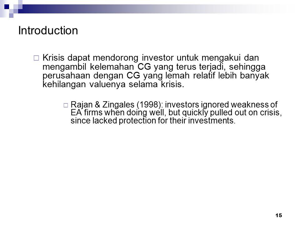 15 Introduction  Krisis dapat mendorong investor untuk mengakui dan mengambil kelemahan CG yang terus terjadi, sehingga perusahaan dengan CG yang lem