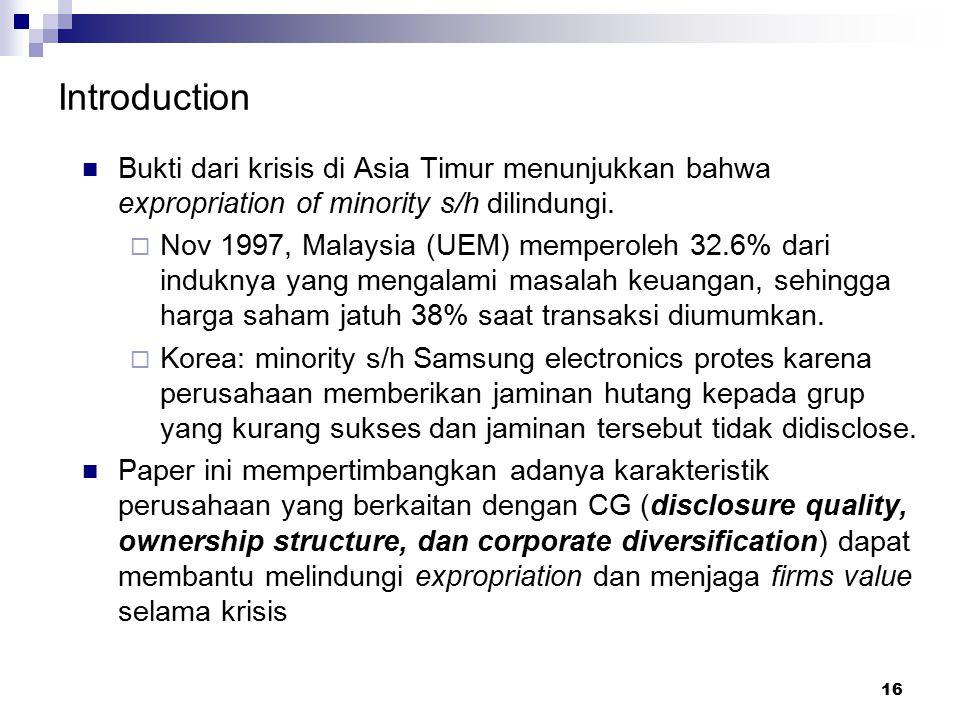 16 Introduction Bukti dari krisis di Asia Timur menunjukkan bahwa expropriation of minority s/h dilindungi.  Nov 1997, Malaysia (UEM) memperoleh 32.6