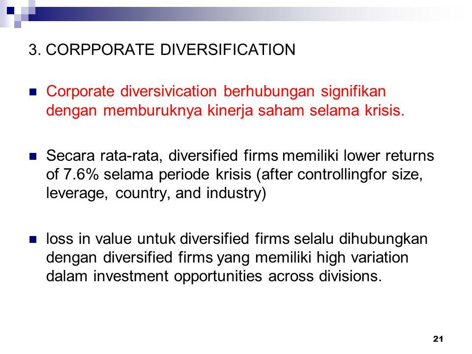 21 3. CORPPORATE DIVERSIFICATION Corporate diversivication berhubungan signifikan dengan memburuknya kinerja saham selama krisis. Secara rata-rata, di