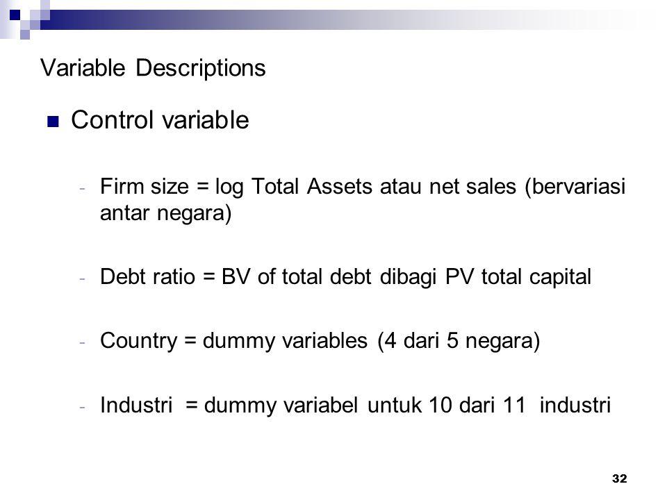32 Variable Descriptions Control variable - Firm size = log Total Assets atau net sales (bervariasi antar negara) - Debt ratio = BV of total debt diba
