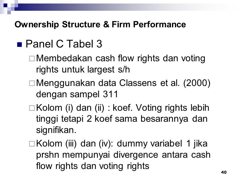 40 Ownership Structure & Firm Performance Panel C Tabel 3  Membedakan cash flow rights dan voting rights untuk largest s/h  Menggunakan data Classen