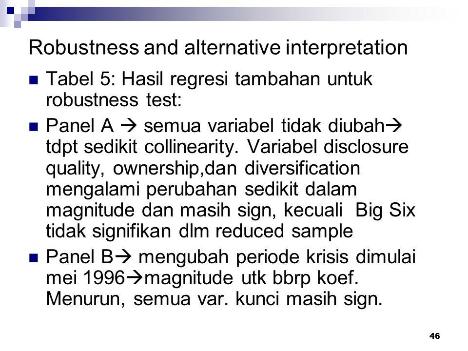 46 Robustness and alternative interpretation Tabel 5: Hasil regresi tambahan untuk robustness test: Panel A  semua variabel tidak diubah  tdpt sedik