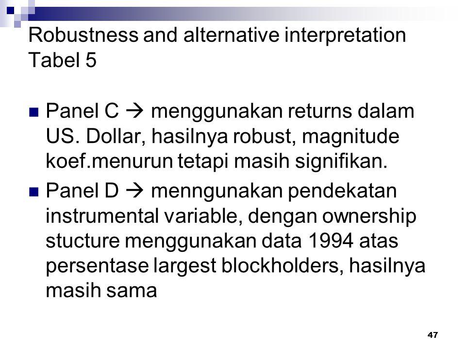 47 Robustness and alternative interpretation Tabel 5 Panel C  menggunakan returns dalam US. Dollar, hasilnya robust, magnitude koef.menurun tetapi ma