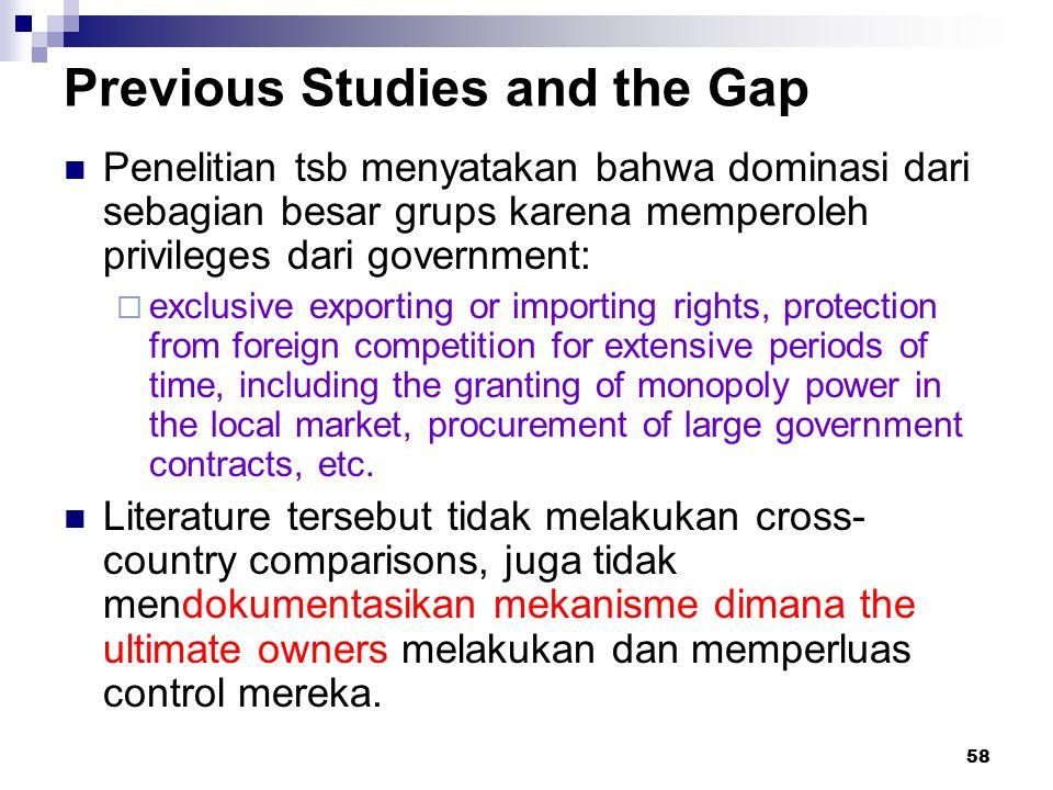 58 Previous Studies and the Gap Penelitian tsb menyatakan bahwa dominasi dari sebagian besar grups karena memperoleh privileges dari government:  exc