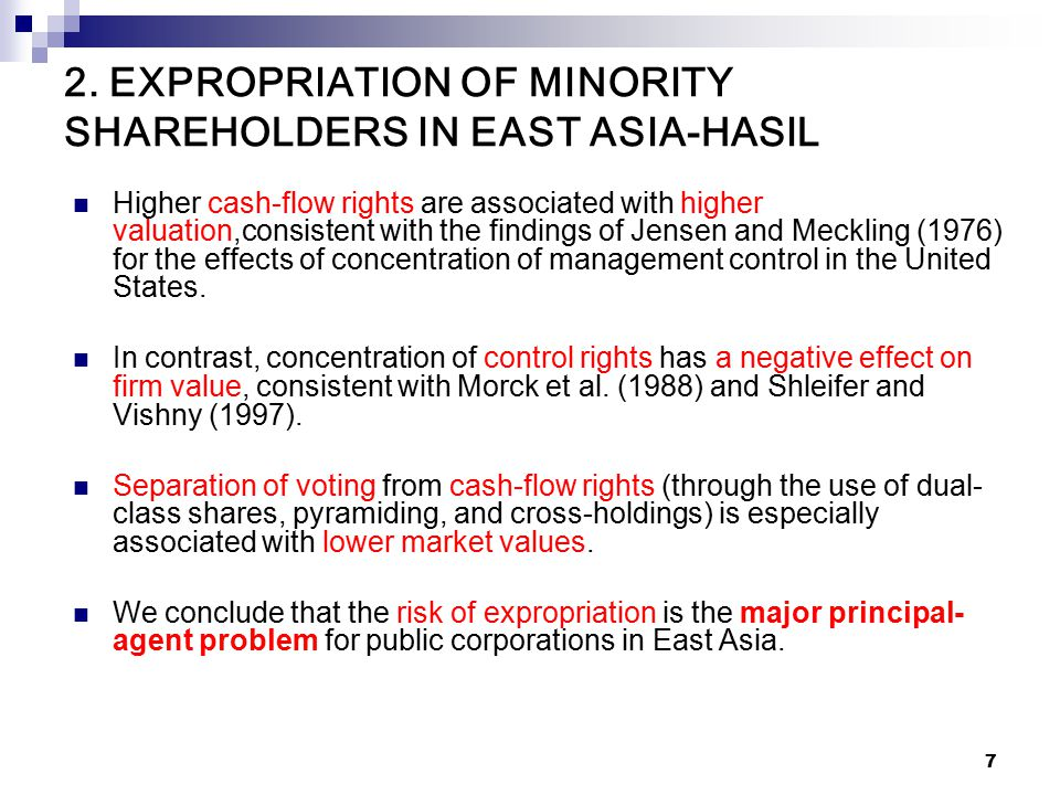 7 2. EXPROPRIATION OF MINORITY SHAREHOLDERS IN EAST ASIA-HASIL Higher cash-flow rights are associated with higher valuation,consistent with the findin