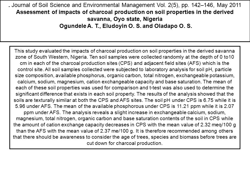 . Journal of Soil Science and Environmental Management Vol. 2(5), pp. 142–146, May 2011 Assessment of impacts of charcoal production on soil propertie