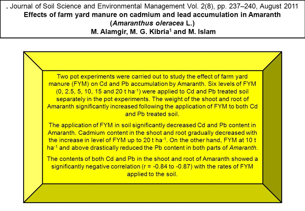 . Journal of Soil Science and Environmental Management Vol. 2(8), pp. 237–240, August 2011 Effects of farm yard manure on cadmium and lead accumulatio