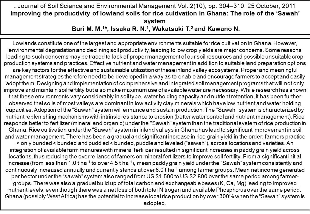 . Journal of Soil Science and Environmental Management Vol. 2(10), pp. 304–310, 25 October, 2011 Improving the productivity of lowland soils for rice