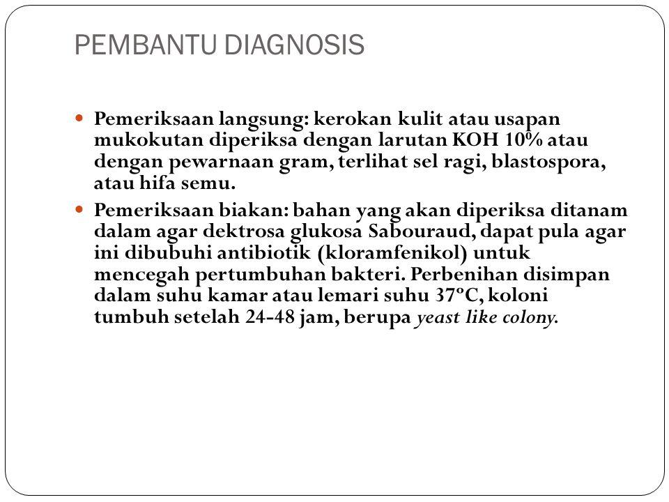 PEMBANTU DIAGNOSIS Pemeriksaan langsung: kerokan kulit atau usapan mukokutan diperiksa dengan larutan KOH 10% atau dengan pewarnaan gram, terlihat sel ragi, blastospora, atau hifa semu.