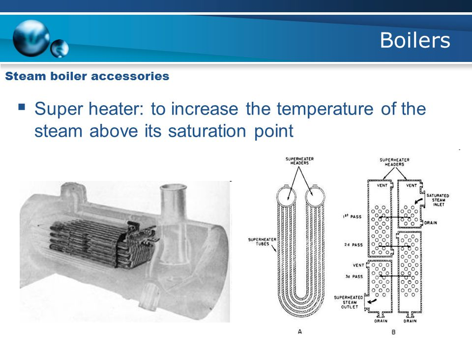 Boilers Steam boiler accessories  Super heater: to increase the temperature of the steam above its saturation point
