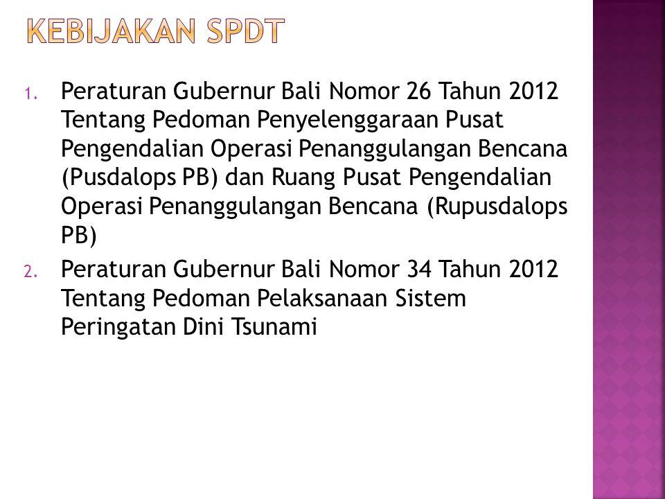 1. Peraturan Gubernur Bali Nomor 26 Tahun 2012 Tentang Pedoman Penyelenggaraan Pusat Pengendalian Operasi Penanggulangan Bencana (Pusdalops PB) dan Ru