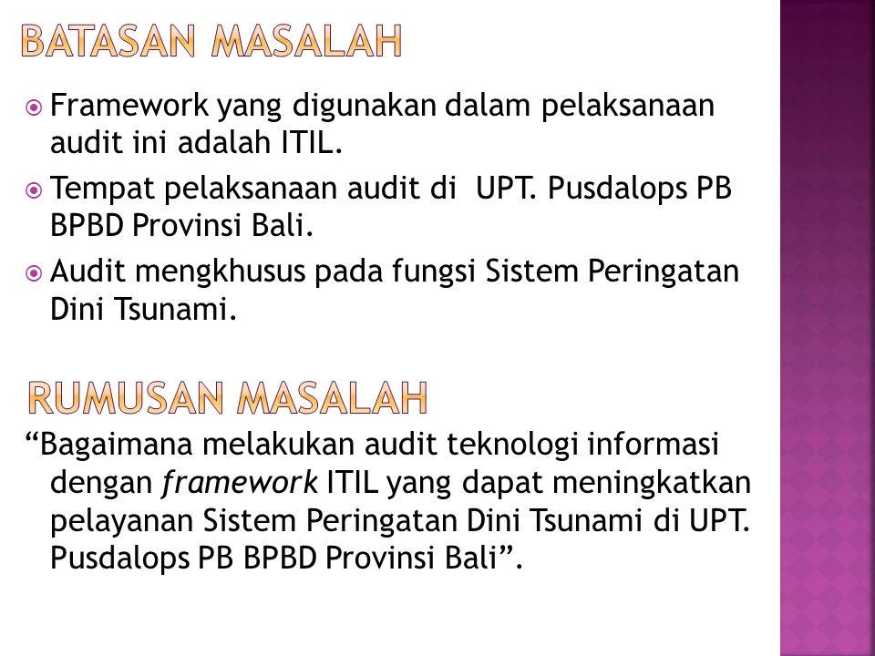  Framework yang digunakan dalam pelaksanaan audit ini adalah ITIL.  Tempat pelaksanaan audit di UPT. Pusdalops PB BPBD Provinsi Bali.  Audit mengkh