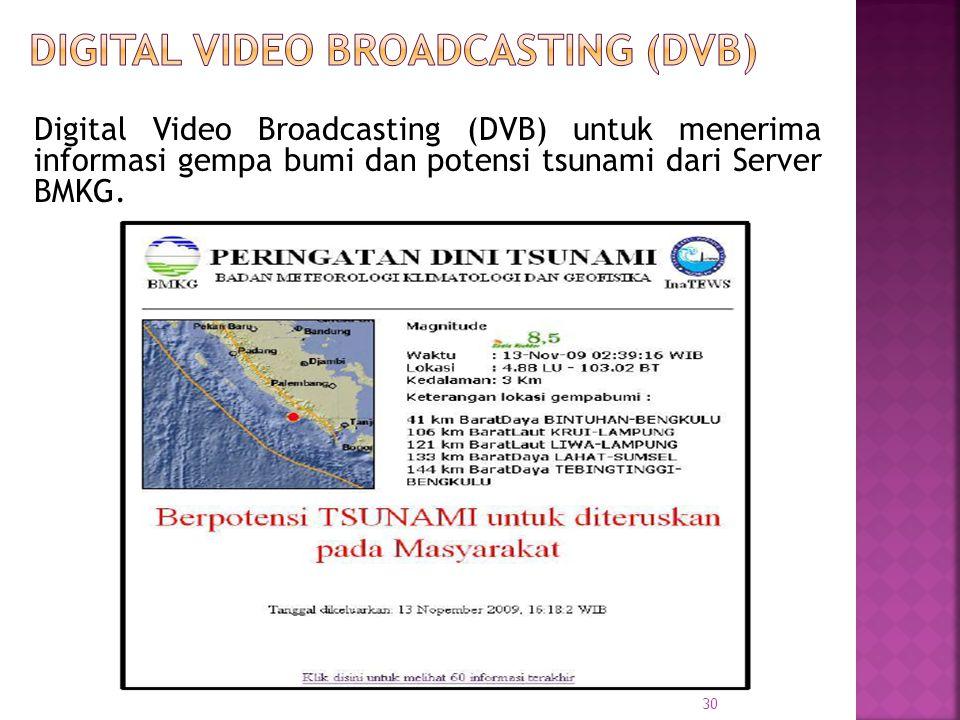 Digital Video Broadcasting (DVB) untuk menerima informasi gempa bumi dan potensi tsunami dari Server BMKG. 30