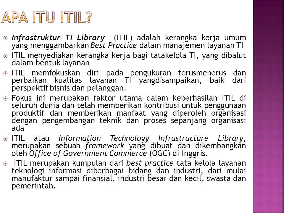  ITIL diterbitkan antara tahun 1989 dan 1995 oleh Her Majesty's Stationery Office (HMSO) di Inggris atas nama Central Communications and Telecommunications Agency (CCTA)  Penggunaan awal pada ITIL terbatas di Inggris dan Belanda  Versi awal ITIL terdiri dari sebuah kumpulan dari 31 buku terkait yang meliputi semua aspek penyediaan layanan TI  Versi awal ini kemudian direvisi dan digantikan oleh tujuh buku, yang lebih erat berhubungan dan konsisten (ITIL V2)  Versi kedua ITIL diterbitkan sebagai suatu set revisi buku antara tahun 2000 dan 2004  Versi kedua ini diterima secara universal dan sekarang digunakan di banyak negara oleh ribuan organisasi sebagai dasar untuk penyediaan layanan TI yang efektif  Pada tahun 2007, ITIL V2 digantikan oleh versi ketiga yang telah disempurnakan, terdiri dari lima buku inti