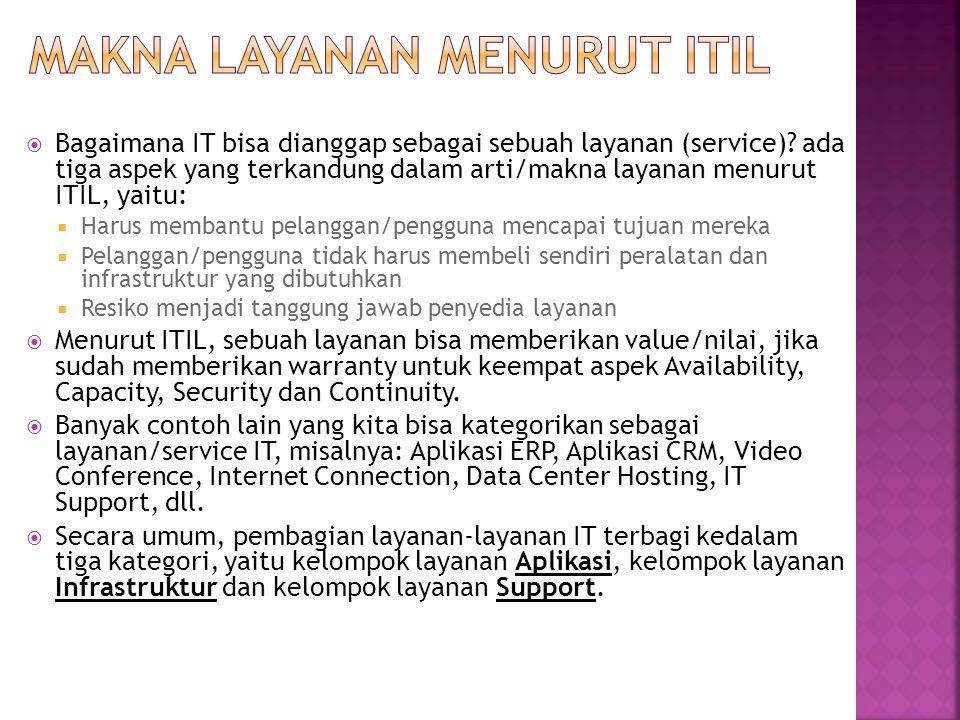  Bagaimana IT bisa dianggap sebagai sebuah layanan (service)? ada tiga aspek yang terkandung dalam arti/makna layanan menurut ITIL, yaitu:  Harus me