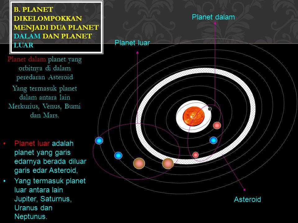 Planet dalam Planet luar Asteroid Planet dalam planet yang orbitnya di dalam peredaran Asteroid Yang termasuk planet dalam antara lain Merkurius, Venus, Bumi dan Mars.