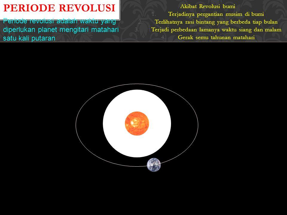 PERIODE REVOLUSI Akibat Revolusi bumi 1.Terjadinya pergantian musim di bumi 2.Terlihatnya rasi bintang yang berbeda tiap bulan 3.Terjadi perbedaan lamanya waktu siang dan malam 4.Gerak semu tahunan matahari Periode revolusi adalah waktu yang diperlukan planet mengitari matahari satu kali putaran