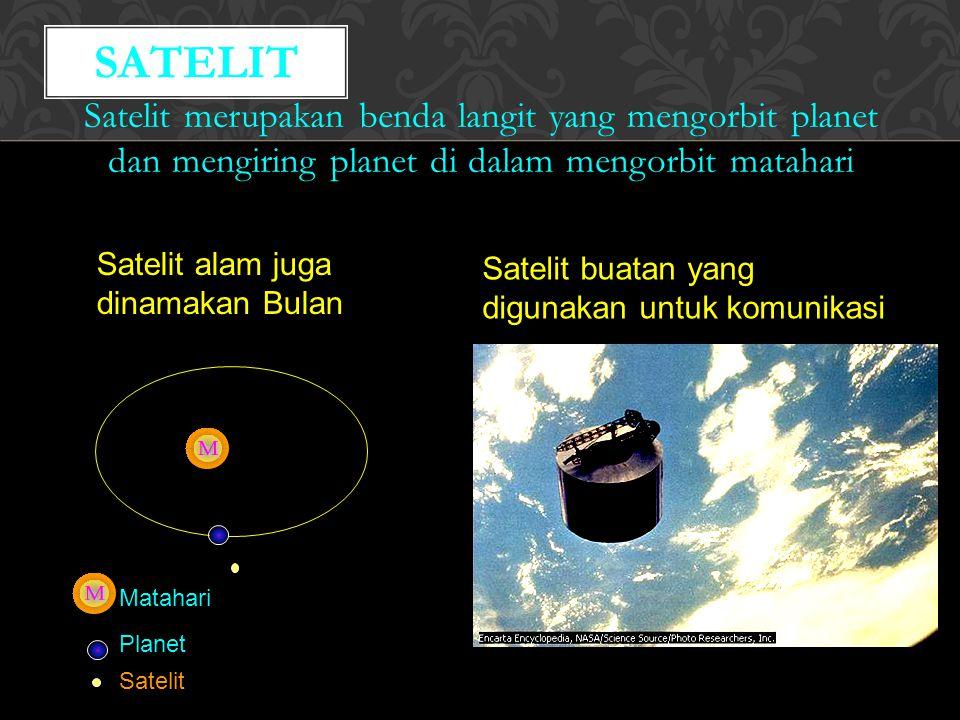 Satelit merupakan benda langit yang mengorbit planet dan mengiring planet di dalam mengorbit matahari SATELIT Planet Satelit Matahari Satelit alam juga dinamakan Bulan Satelit buatan yang digunakan untuk komunikasi
