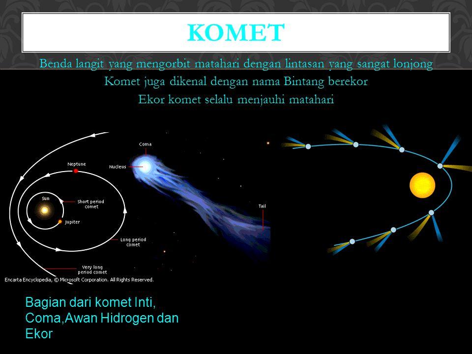 Benda langit yang mengorbit matahari dengan lintasan yang sangat lonjong Komet juga dikenal dengan nama Bintang berekor Ekor komet selalu menjauhi matahari KOMET Bagian dari komet Inti, Coma,Awan Hidrogen dan Ekor