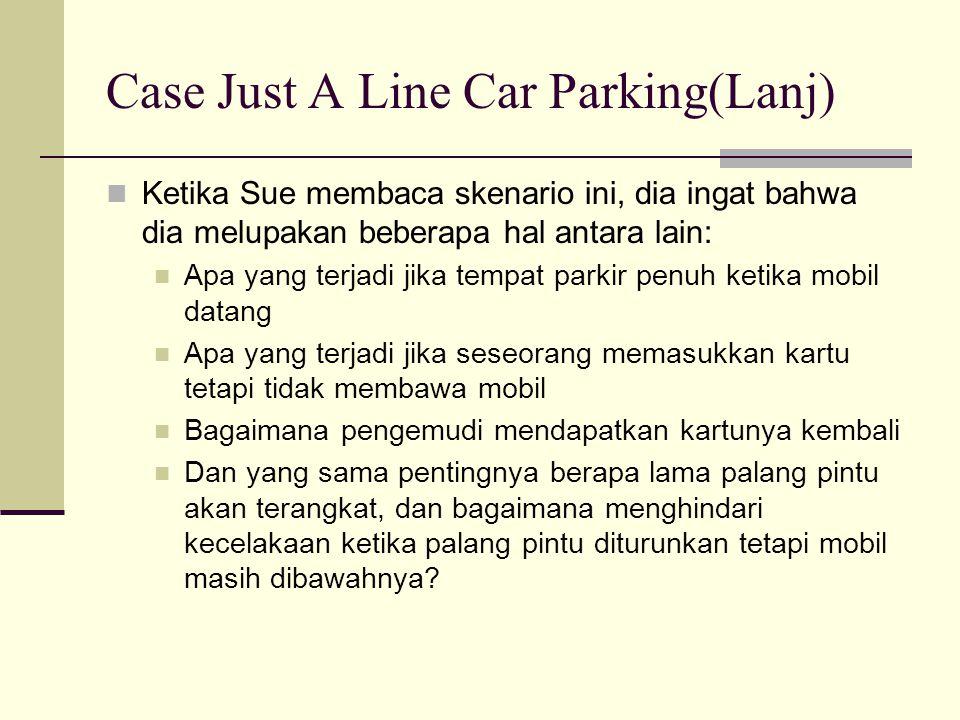 Case Just A Line Car Parking(Lanj) Ketika Sue membaca skenario ini, dia ingat bahwa dia melupakan beberapa hal antara lain: Apa yang terjadi jika temp