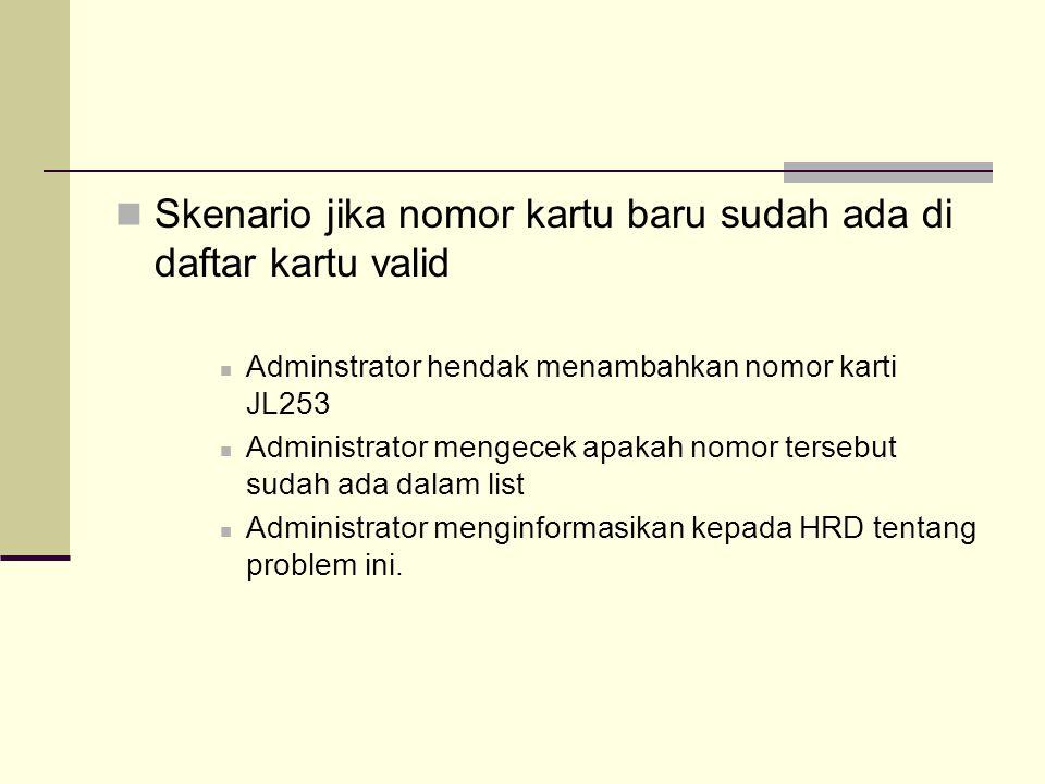 Skenario jika nomor kartu baru sudah ada di daftar kartu valid Adminstrator hendak menambahkan nomor karti JL253 Administrator mengecek apakah nomor tersebut sudah ada dalam list Administrator menginformasikan kepada HRD tentang problem ini.
