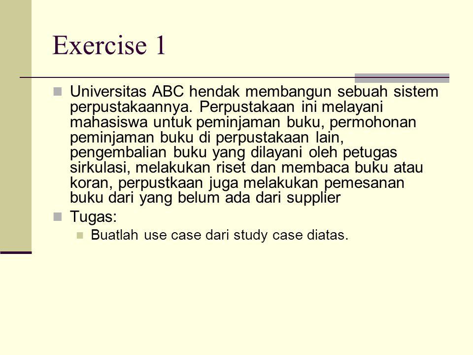 Exercise 1 Universitas ABC hendak membangun sebuah sistem perpustakaannya.