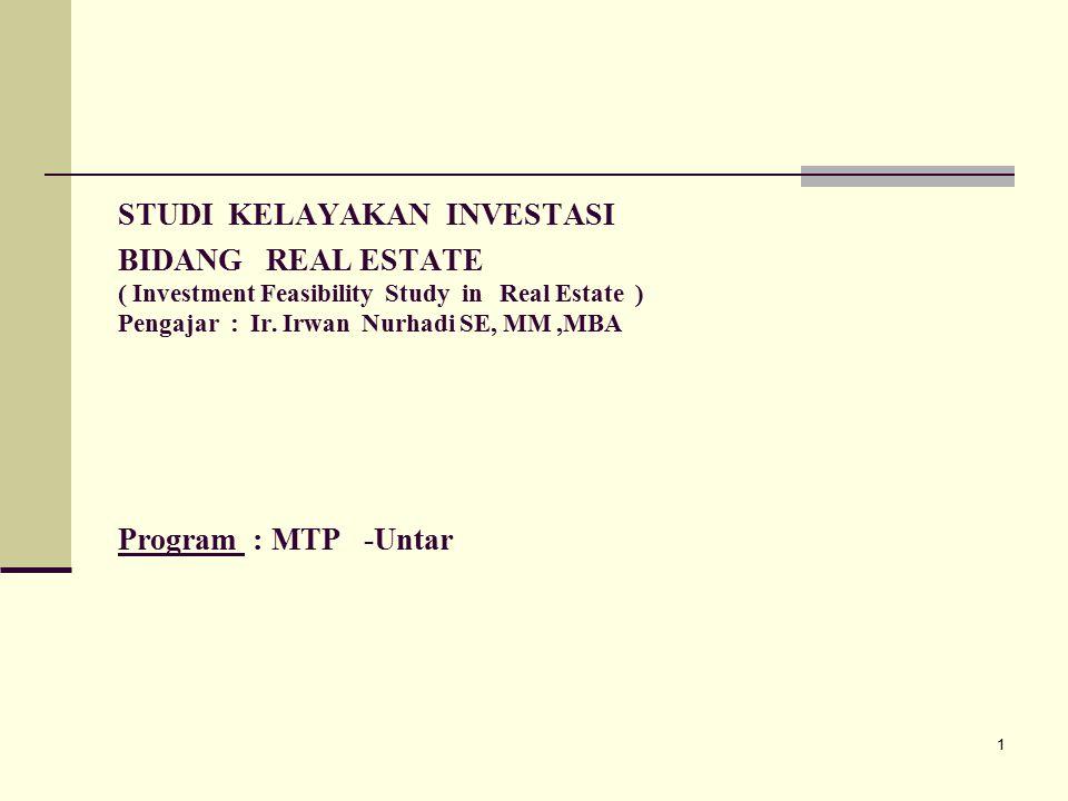 1 STUDI KELAYAKAN INVESTASI BIDANG REAL ESTATE ( Investment Feasibility Study in Real Estate ) Pengajar : Ir.