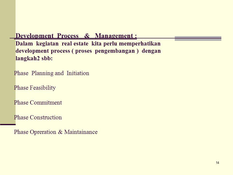14 Development Process & Management : Dalam kegiatan real estate kita perlu memperhatikan development process ( proses pengembangan ) dengan langkah2 sbb: Phase Planning and Initiation Phase Feasibility Phase Commitment Phase Construction Phase Opreration & Maintainance
