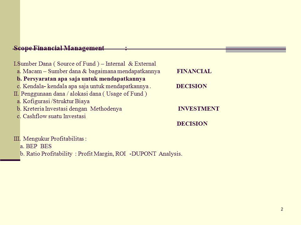23 Resiko Investasi : Ada beberapa resiko pada investasi yang harus diperhitungkan yaitu : Business Risk : resiko yang disebabkan oleh adanya fluktuasi / kondisi perekonomian secara umum,dimana kita tidak bisa memprediksinya contoh Peraturan Pemeri ntah yang berubah.Liquididty Risk : resiko yang disebabkan tidak likuidnya dana perusahaan, yang mengakibatkan kewajiban jangka pendek tidak bisa dipenuhi.Default Risk : resiko yang disebabkan karena tidak bisa mengembalikan pinjaman + bunganya karena kesalahan rutin dalam menghitung.Financial Risk : resiko yang disebabkan kesalahan menghitung dan pengambilan asumsi2 nyaMarket Risk : resiko yang yang terjadi karena adanya fluktuasi pasar, seperti over suplly.Interest rate Risk : resiko yang disebabkan karena fluktuasi tingkat bunga dipasar naik, sehingga suku bunga pinjaman menjadi naik, dan menjadi kredit macet.Purchasing risk : resiko yang terjadi karena daya beli masyarakat menurun..
