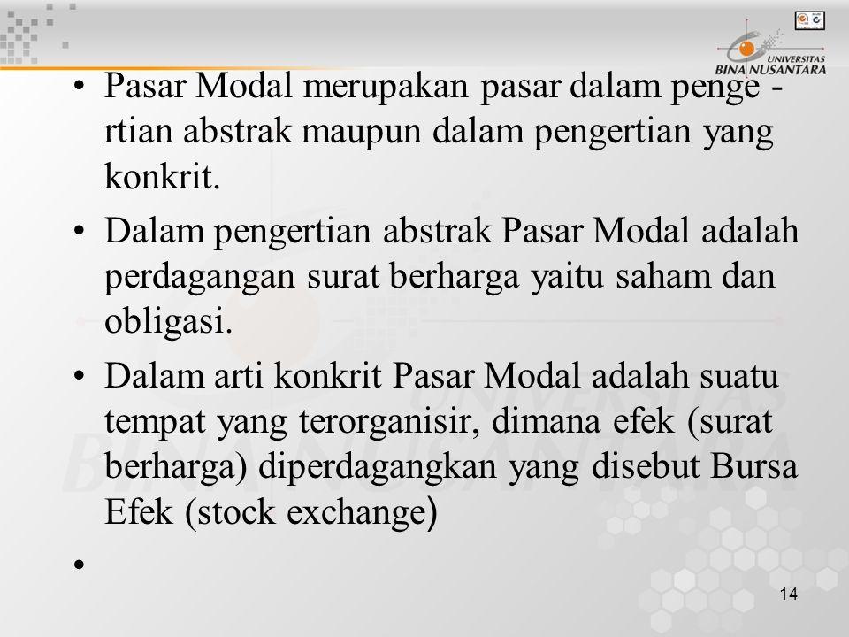 14 Pasar Modal merupakan pasar dalam penge - rtian abstrak maupun dalam pengertian yang konkrit. Dalam pengertian abstrak Pasar Modal adalah perdagang