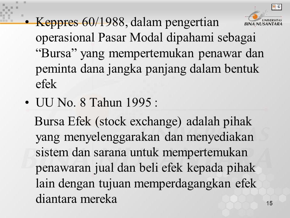 "15 Keppres 60/1988, dalam pengertian operasional Pasar Modal dipahami sebagai ""Bursa"" yang mempertemukan penawar dan peminta dana jangka panjang dalam"